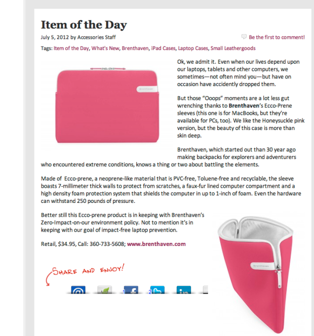 Brenthaven Laptop Sleeve in Accessories Magazine
