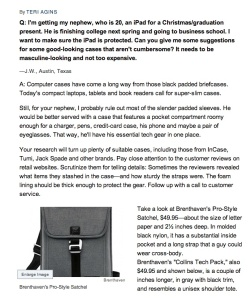 Brenthaven's Collins Tech bag is featured in the Ask Teri column in the Wall Street Journal