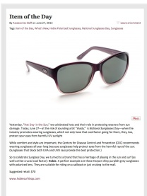 In honor of National Sunglass day Accessories magazine featured this Hobie women's frame as the Item of the Day